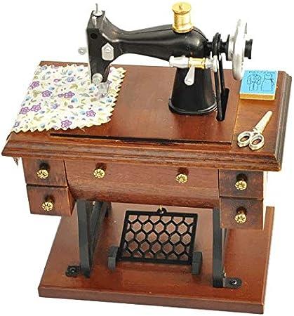 Wuxingqing-Home Caja de música Caja de música de Madera de la máquina de Coser de la decoración del hogar del Arte de Madera Vintage Regalo Musical Decoración de Estudio de Oficina en: