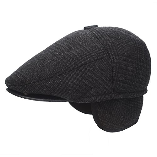 Plaid Top Hat (Flammi Men's Tweed Flat Cap Earflap Hat Soft Lined newsboy IVY Cap (Plaid, Large))