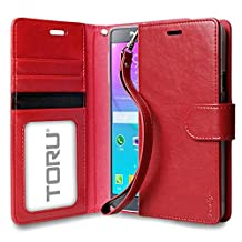 Galaxy Note 4 Case, TORU [Prestizio Wallet] Note 4 Wallet Case with [CARD SLOT][ID HOLDER][KICKSTAND][WRIST STRAP] - Premium Wristlet Leather Flip Cover Case for Samsung Galaxy Note 4 - Red