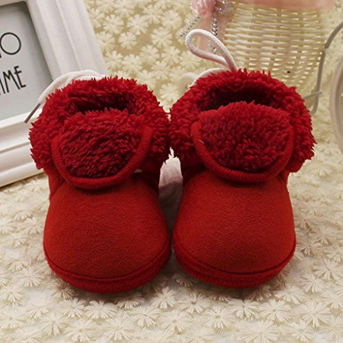 Omiky® Kleinkind Neugeborenes Baby Solide Weiche Sohle Stiefel Prewalker Warme Schuhe Rot