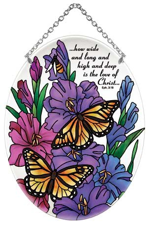 Joan Baker Designs Monarch Butterfly & Gladiolus Love of Christ Stained Glass Suncatcher (MO323R) -