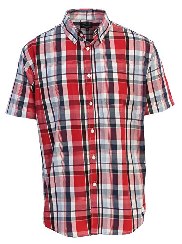 (Gioberti Men's Plaid Short Sleeve Shirt, Red/Navy/White Gradient, Small)