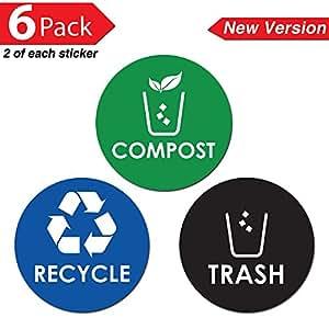"Amazon.com: Recycle Trash Compost Bin Sticker - 4"" x 4"