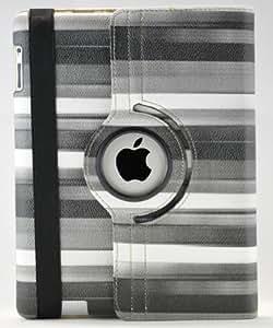 LiViTech(TM) Multi-Color Striped Design 360 Degree Rotating Cover Case for iPad 3 or iPad 2 (Black)