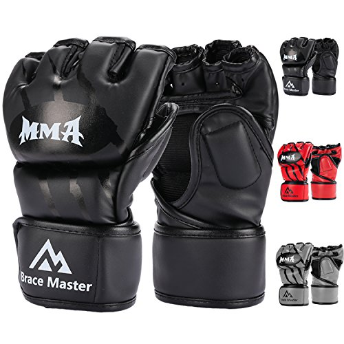 Brace Master MMA Gloves UFC Gloves Leather More Paddding for Men Women...