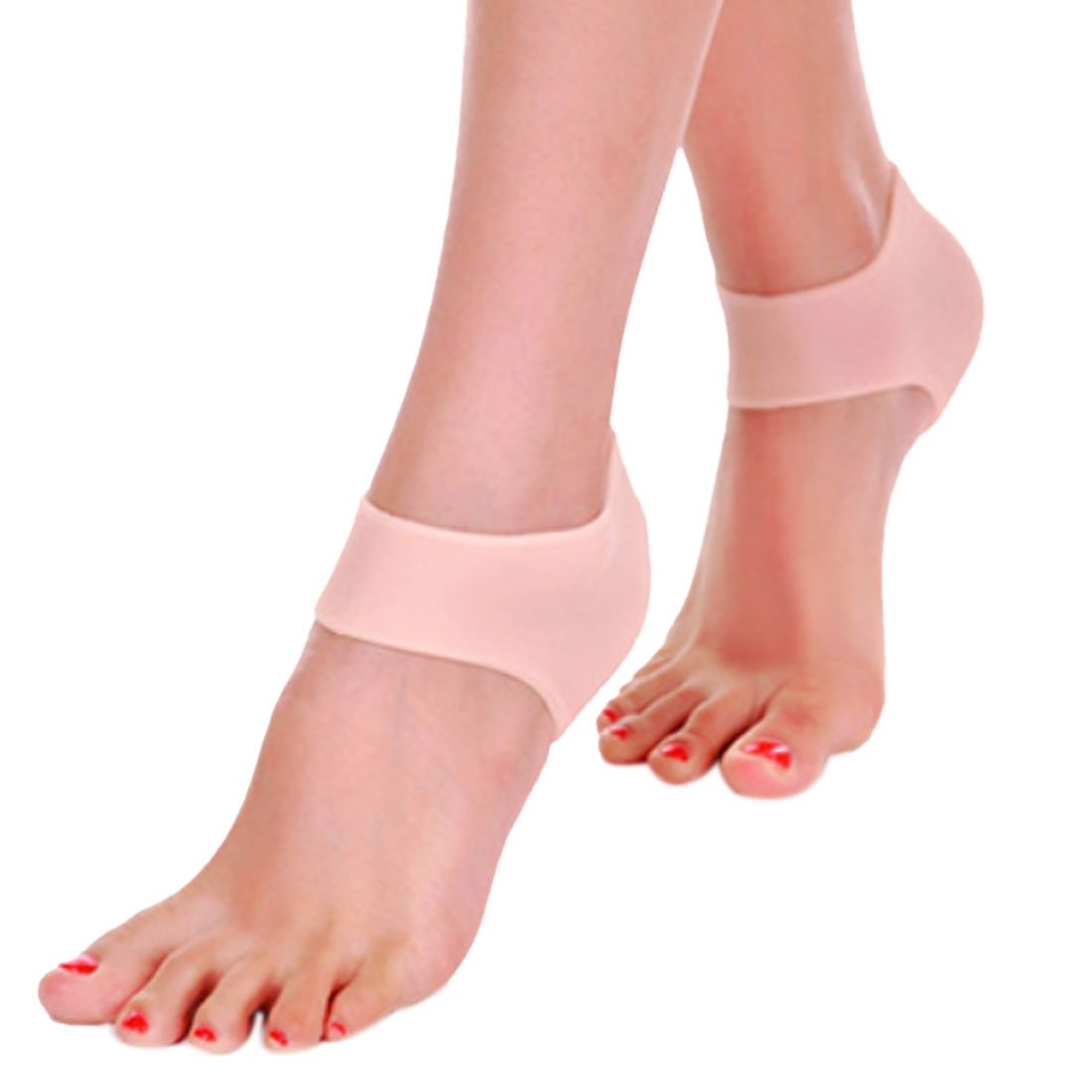 Voberry 1 Pair Silicone Gel Cushion Pad Heel Liner Protective Cracked Skin Feet Pressure Pain Relief Socks for Foot Care Protectors by Voberry (Image #1)