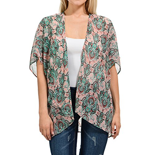 BASICO Womens Plus Size Open Asymmetrical Hem Chiffon Vest Cardigan Cover up (2 XL/3 XL, Cardigan #128)
