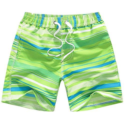 xiaoming Boy's Big Kids Beach Elastic Waist Stripe Quick Dry Beach Boardshort Swim - Trunks Swim Hydrophobic