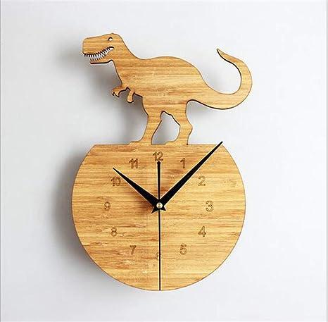Reloj de pared de dinosaurio de madera de bambú natural, reloj de pared Park Tyrannosaurus, ...