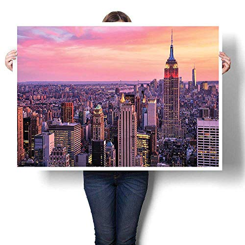 SCOCICI1588 Wall Painting,New York City Midtown with Empire State Building at Sunset Business Center Rooftop Oil Painting,Home Decor Oil on Canvas,48