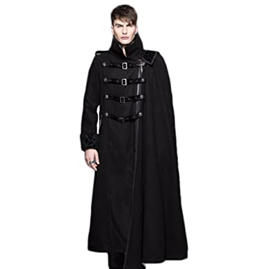 Punk Gothic Winter Cape Coat Men Long Dust Trench Coat Mens Fashion Jacket  Coat (XXXL