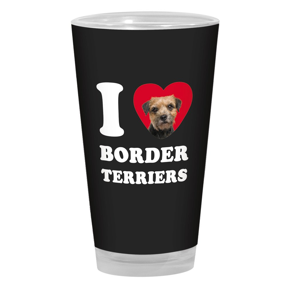 Tree-Free Greetings PG04014 I Heart Border Terriers Artful Alehouse Pint Glass 16-Ounce