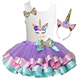Kirei Sui Girls Lavender Pastel Satin Trimmed Tutu Birthday Unicorn M Five