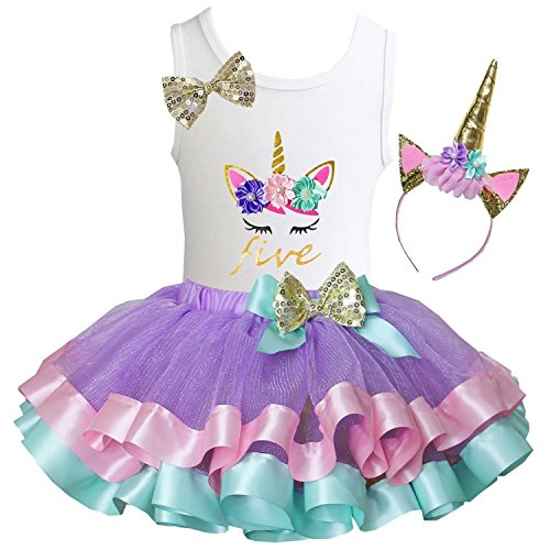 Kirei Sui Girls Lavender Pastel Satin Trimmed Tutu Birthday Unicorn M Five]()