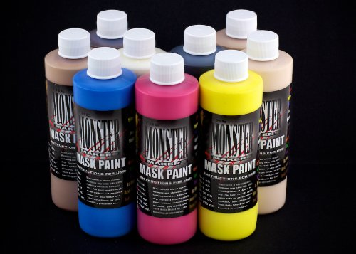 The Monster Makers Latex Mask Paint 9 Color Kit (4oz -