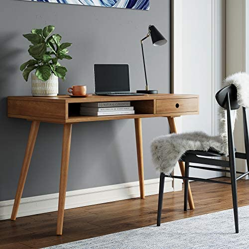 Nathan James Parker Modern Home Office Writing, Computer or Laptop Desk with Open Storage Cubby and Small Drawer, Walnut