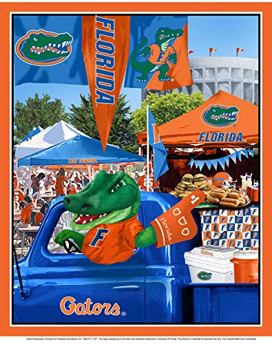 University Fleece Fabric Panel - University of Florida Cotton Fabric Panel with Tailgate Design-Sold by The Panel
