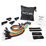 Incline Fit Resistance Bands (17pcs) - 7 Stackable Exercise Bands Ranging from 2 to 50 lbs of Resistance; Includes Zip-up Bag, Foam Handles, Ankle Straps, Door Anchors & Workout Book