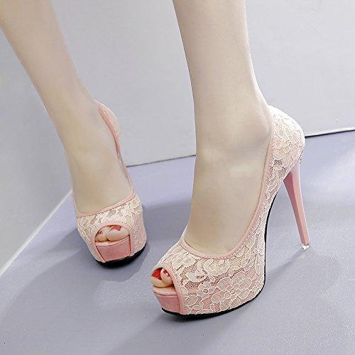 ZHANGYUSEN Sandalias. Los Tacones Altos. Tacones Mujer, Impermeable y Dulce. Lace. La Princesa Zapatos. Banquete. Rosa