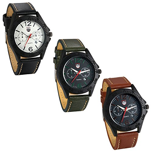 Amazon.com: JewelryWe Lot of 3 Wholesale Men Round Dial Quartz Date Watches Green Leather Band Business Wristwatch: Watches