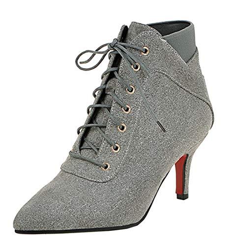 Botte Bottine Aiguille Lacets Heels Boots Chaussure Ankle Pointu antZq1q