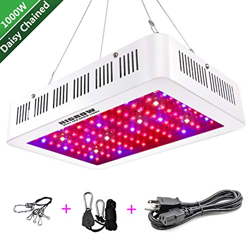 HIGROW 1000W LED Grow Light, Full Spectrum Plant Light with Daisy Chain for Indoor Greenhouse Hydroponics Plants Veg and Flower (10W LEDs 100Pcs)