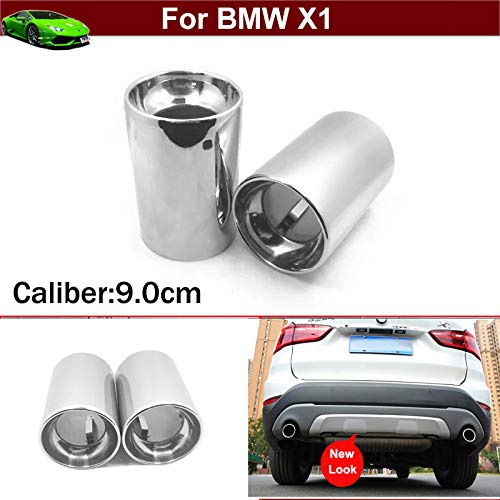 Bmw 2020 Muffler - 2pcs New Car Chrome Stainless Steel Exhaust Tail Pipe Tip Tailpipe Muffler Cover Trim Emblems Silver Color Custom Fit for BMW X1 2016 2017 2018 2019 2020