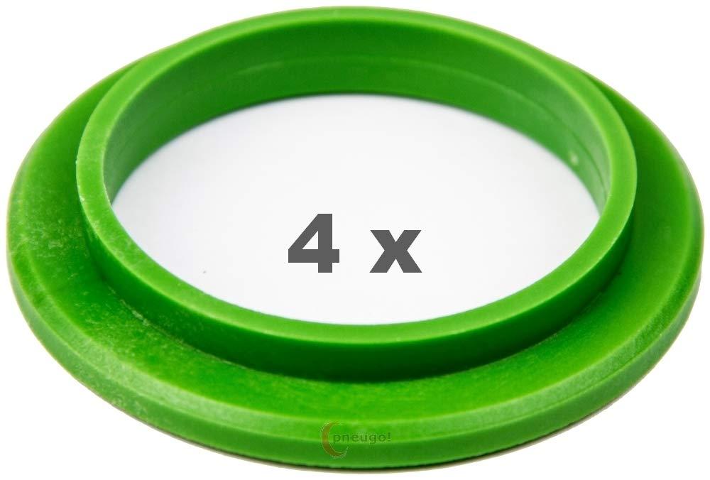 4 X anelli di centraggio in plastica 79, 5 mm su 57.1 verde. Pneugo