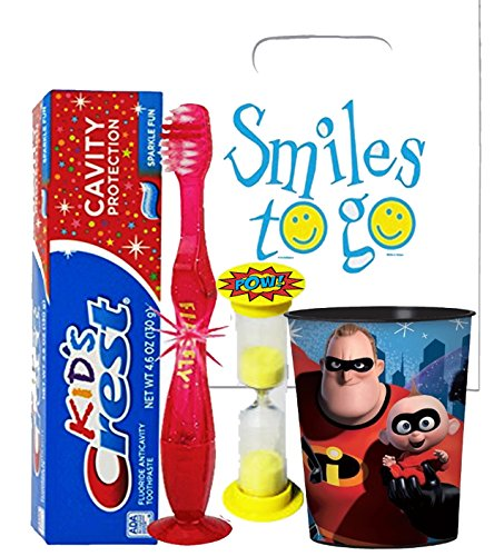 The Incredibles Inspired 4pc Bright Smile Oral Hygiene Bundle! Light Up Toothbrush, Toothpaste, Brushing Timer & Mouthwash Rise Cup! Plus Dental Gift Bag & Tooth Saver Necklace!