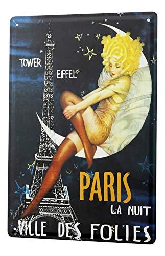 Tin Sign Pin Up Adult Art Paris Eifeltum crescent moon angel night follies - Plaque Angel Night