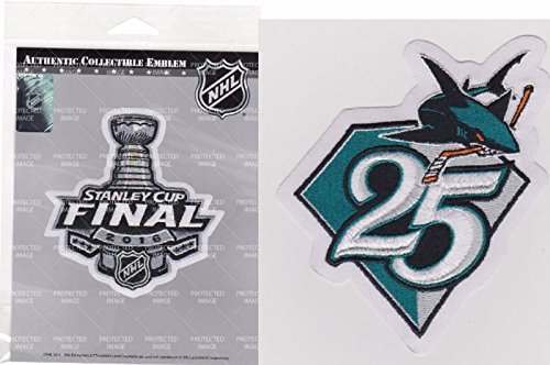 2016 STANLEY CUP FINAL PATCH & SAN JOSE SHARKS ANNIVERSARY PATCH SET WESTERN CONFERENCE