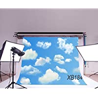 LB 7x5ft Blue Sky & White Cloud Vinyl Photography Backdrop Customized Photo Background Studio Prop XB184