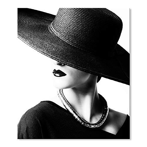 SEVEN WALL ARTS -Modern Canvas Black White Figure Black Hat Elegant Lady Wall Pictures Giclee Print on Canvas Stretched Bedroom Ready to Hang 20 x 24 Inch