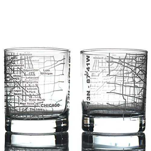 Greenline Goods Whiskey Glasses - 10 Oz Tumbler Gift Set for Chicago Lovers   Etched with Chicago Map   Old Fashioned Rocks Glass - Set of 2 (Chicago Cheap Glasses)