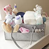Baby Diaper Caddy Organizer - Portable Large diaper caddy tote - Car Travel Bag - Nursery diaper caddy Storage Bin - Gray Felt Basket Infant Girl Boy - Cute Gift for Kids - Newborn Registry Must Have