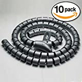 InstallerParts (10 Pack) 15mm Spiral Cable Wrap Desktop Computer Cable Management, Black (1.5M)