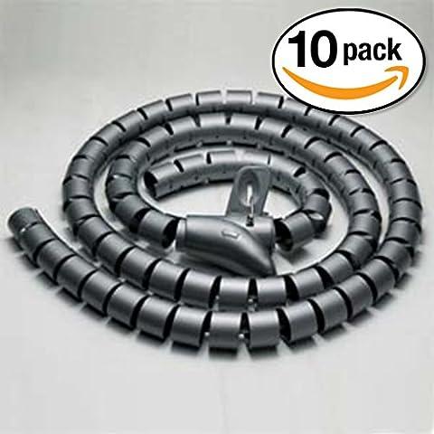 InstallerParts (10 Pack) 15mm Spiral Cable Wrap Desktop Computer Cable Management, Black (1.5M) - 3g Handset