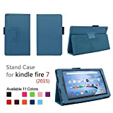 Case for Kindle Fire 7 Inch Tablet - Folio Case with Stand for Kindle Fire 7 Inch Tablet - (Dark Blue)