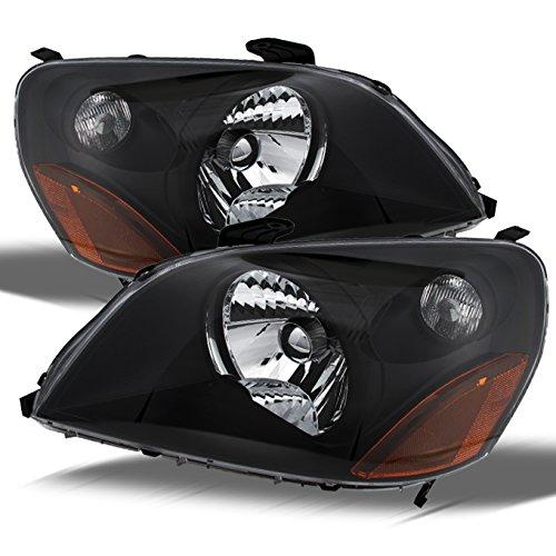For 2003-05 Honda Pilot JDM Black Bezel OE Replacement Headlights Driver/Passenger Amber Head Lamps Pair New ()