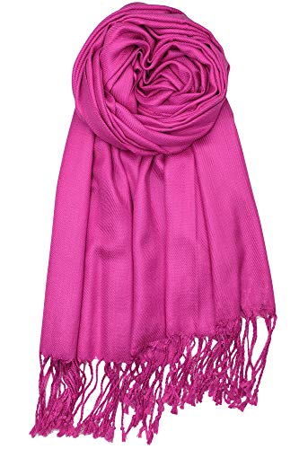 Achillea Large Soft Silky Pashmina Shawl Wrap Scarf in Solid Colors (Magenta)