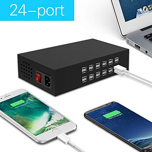 RUISI 24 Port USB Charger Station Dock Charger 200W 40A Portable Multi Port USB Wall Charger Adapter For iPhone, iPad, Samsung, HTC