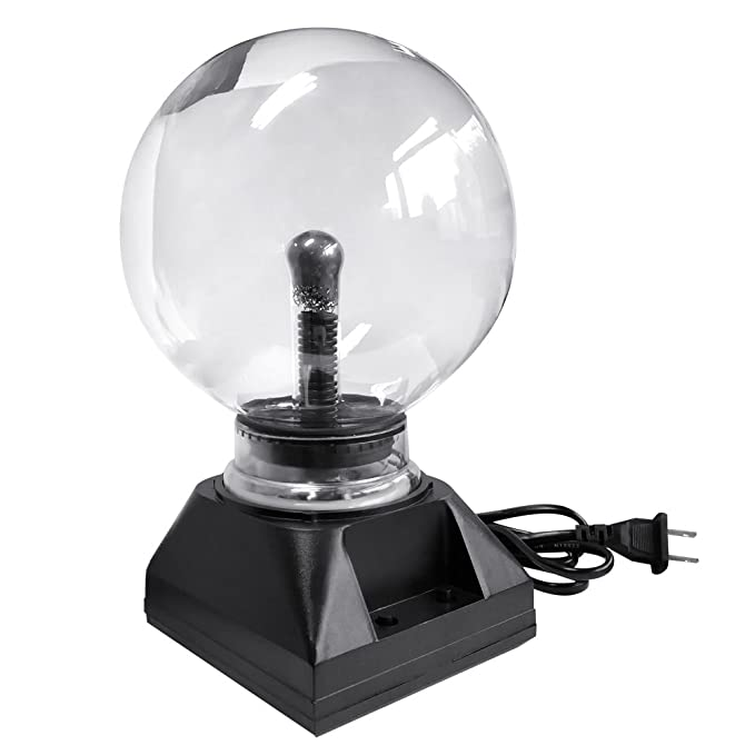Generic Plastic Crystal Mohangifts Novelty Magic Touch Nebula Plasma Globe Scientific Decorative Table Lamp, 5 Inches, Black