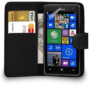 123 Online Nokia Lumia 625 Cuero Negro Monedero del caso del tirón de la cubierta Pouch + Protector de pantalla y paño de pulido