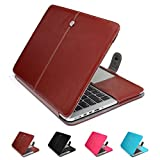 """GranVela MacBook Notebook Premium Quality PU Leather Sleeve bag, Skin Case Cover for Apple 15"""", 15.4"""" inch Macbook Pro with Retina Display-Brown"""