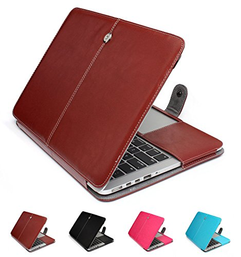 GranVela MacBook Notebook Premium Quality PU Leather Sleeve bag, Skin Case Cover for Apple 15, 15.4 inch Macbook Pro with Retina Display-Brown