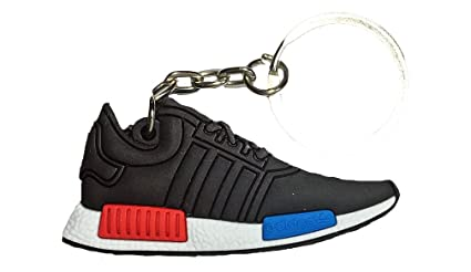 06d3dba03e663 Image Unavailable. Image not available for. Color  Black Blue Lush Red NMD  Runner 2D Flat Sneaker Keychain