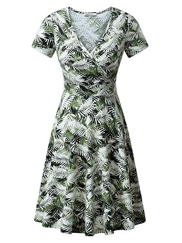 - MSBASIC Leaf Dress Casual Spring Dresses for Women White Green Leaf S