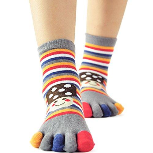 (Smile Mushrooms Stripe Cotton Toes Socks Funky Socks for Kids 2-5yrs (Grey))