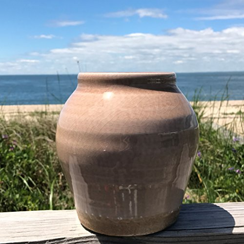 Whole House Worlds The Beach Chic Rustic Glazed Vase, Distressed, Pale Coffee, Crackled with White Undertones, Stoneware, 7 1/8 Tall, By by Whole House Worlds