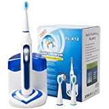 CUH Sonic Electric Toothbrush with UV Sanitizer Cordless Rechargeable High Powered 40,000vpm Deep Clean 3 Replacement Brush Heads 5 Brushing Modes Waterproof (White & blue)